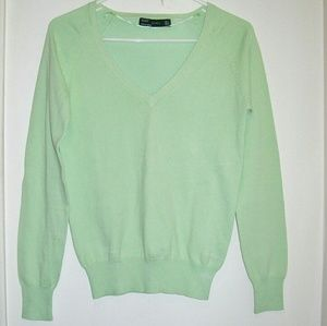 Medium ZARA Lime Green V Neck Sweater
